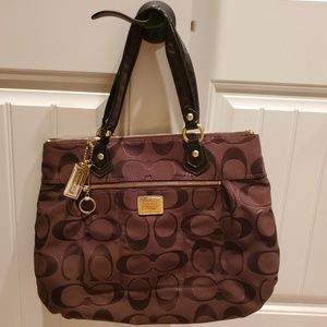 Coach Chocolate & Gold Poppy Glam Signature Tote
